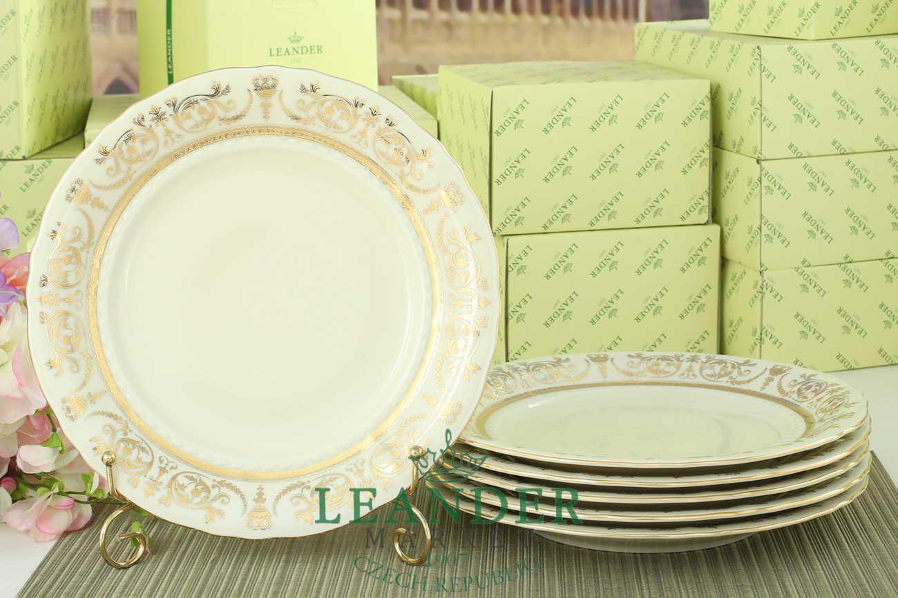 Тарелки мелкие 25 см 6 штук Соната, Золотой орнамент, слоновая кость  07560115-1373